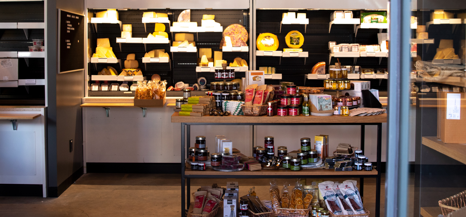 In-store displays of cheese and accompaniments
