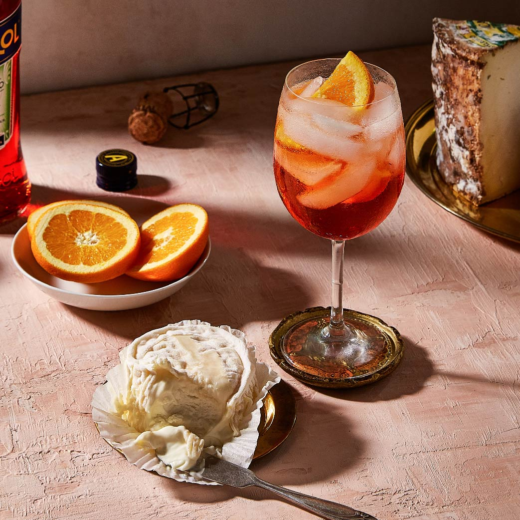 Aperol Spritz Cocktail Paired With La Tur Cheese