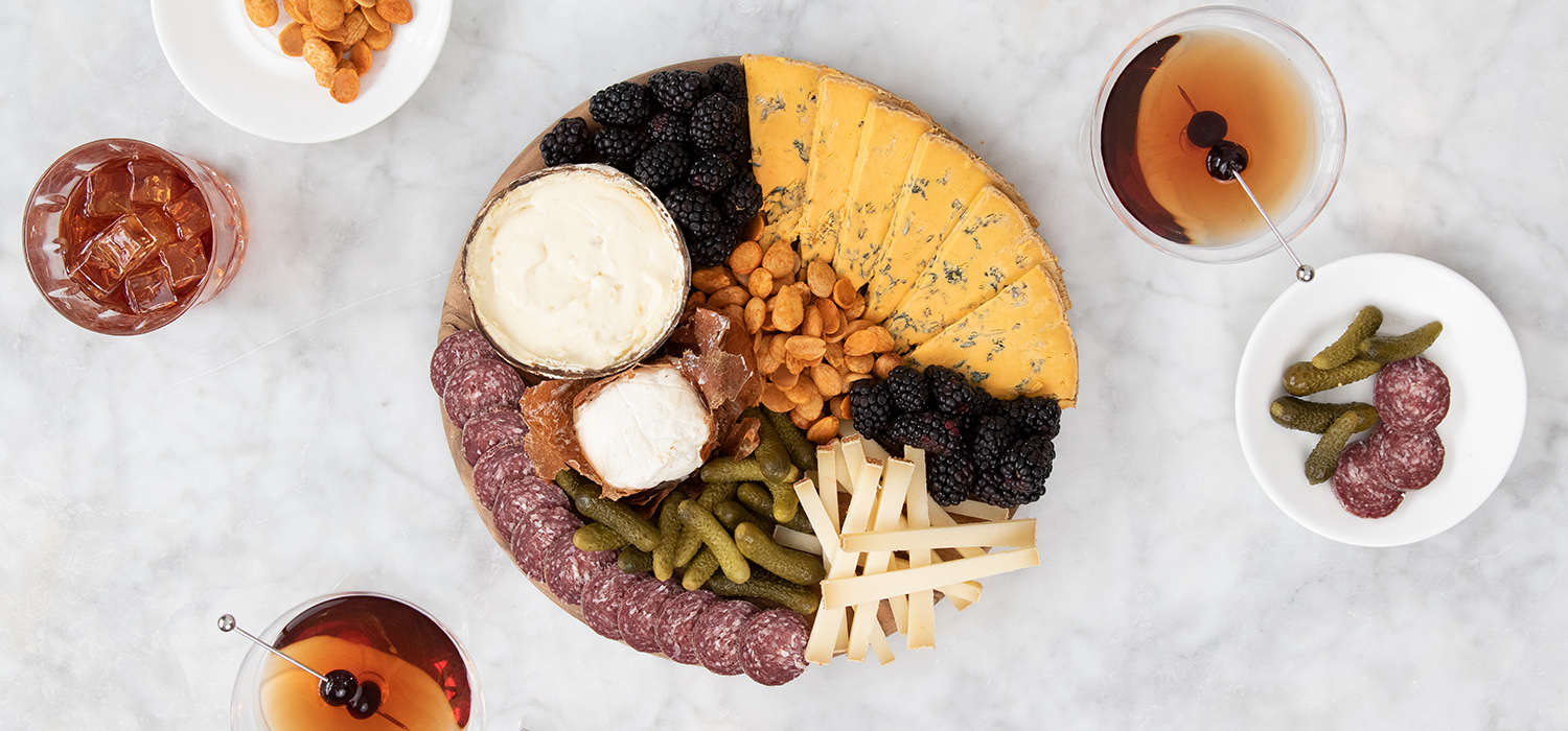 The Whiskey Lover's Cocktails and Cheese Board
