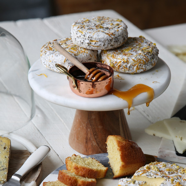Be Home White Marble Cake Platter With Wood Base