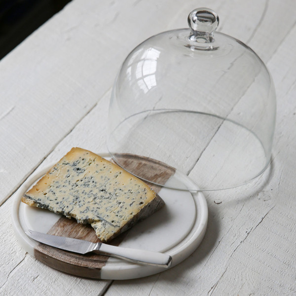 Be Home White Marble, Wood & Glass Cloche