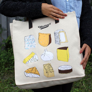 Cheese Lovers Tote with Leather Handles