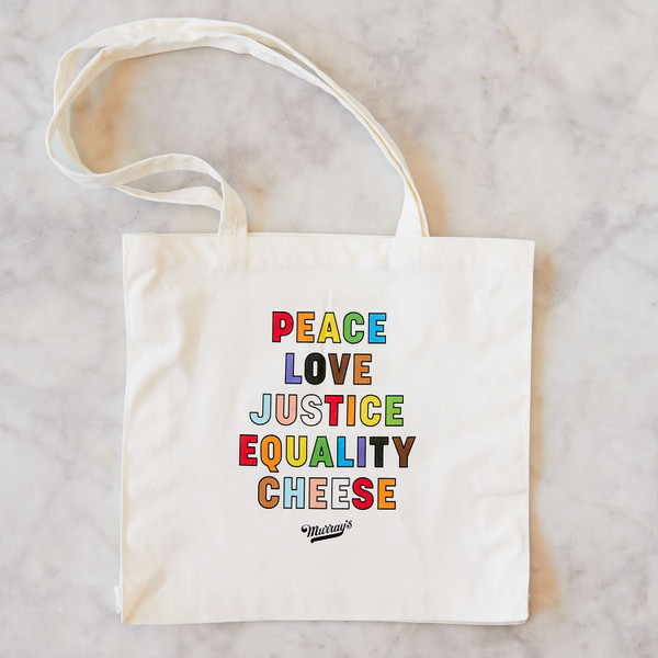 Rainbow Wedge of Cheese Graphic on Tote