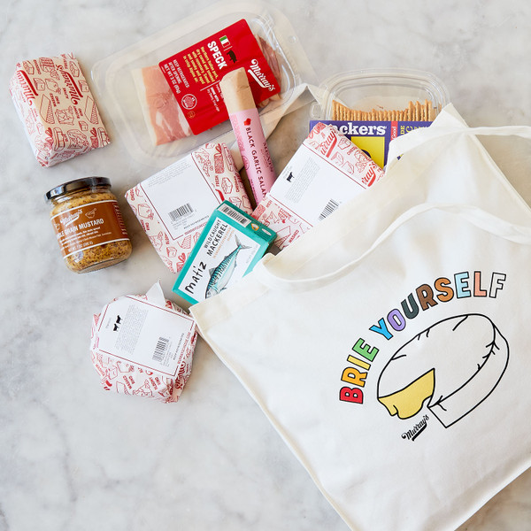 Cheese For All Tote Standing Up on Table