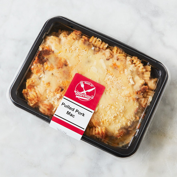 Container of Murray's Pulled Pork Mac And Cheese with Label on Lid