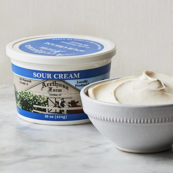 Arethusa Dairy Sour Cream Container and Sour Cream in a Bowl