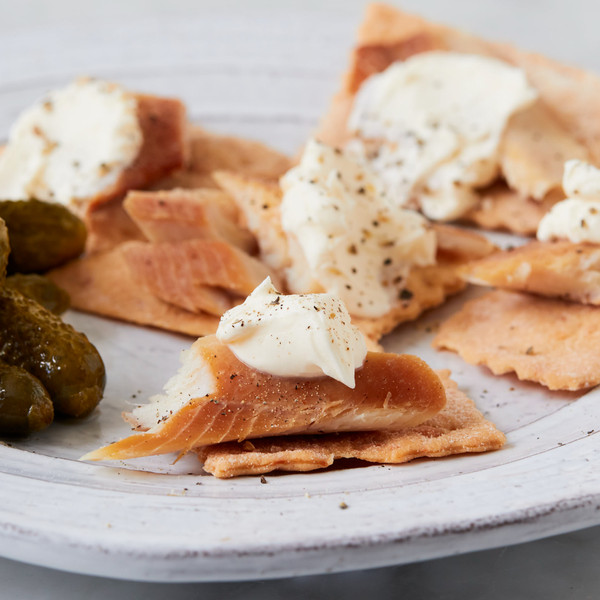 Crackers Topped with Smoked Trout and Cream Cheese