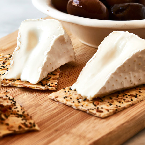 Two Wedges of Robiola di Bufala on Crackers