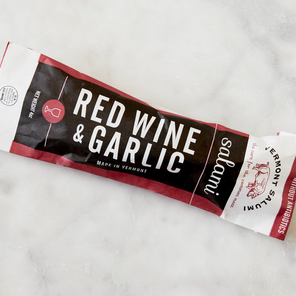 Package of Vermont Salumi Red Wine and Garlic Salami