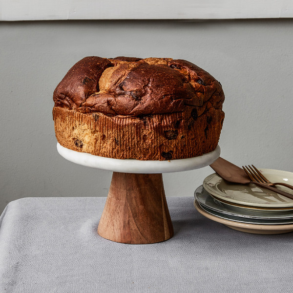 Rustichella Fig and Chocolate Panettone on Cake Stand