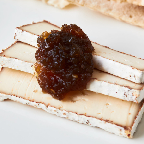 Dollop of Smoked Onion Jam on Slices of Murray's Cave Aged BBQ Camembert