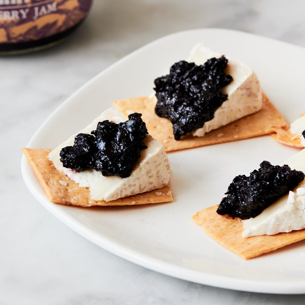 Cheese Topped Crackers with Dollops of Blackberry Farm Blackberry Jam
