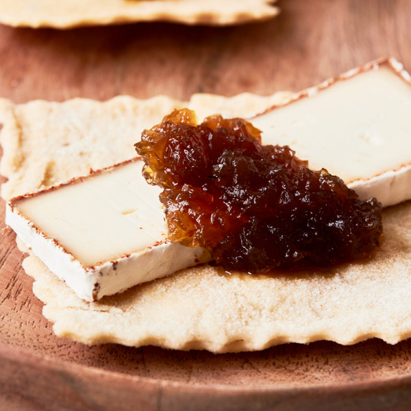 Sourdough Sea Salt Cracker Topped with Cheese and Jam