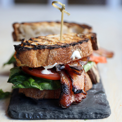 BLT made with Nueske's Bacon and Blue Cheese Dressing on a slate board
