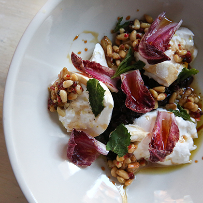 Raddichio Salad with Burrata, Pine Nuts and Mint