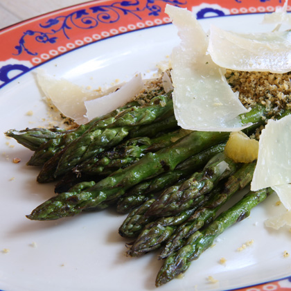 A close up of the Grilled Asparagus with Meyer Lemon and Panko Crumble
