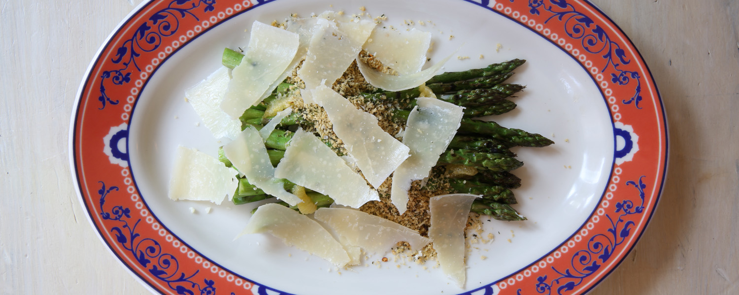 A photo from the top of the Grilled Asparagus with Meyer Lemon and Panko Crumble