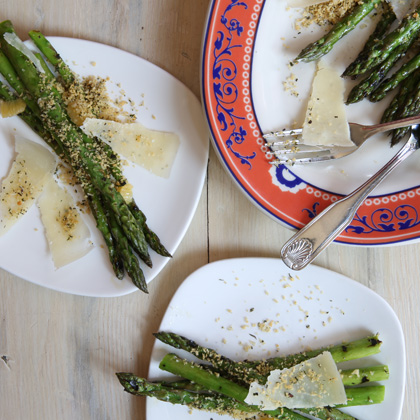 Grilled Asparagus with Meyer Lemon and Panko Crumble served with Piave Vecchio cheese