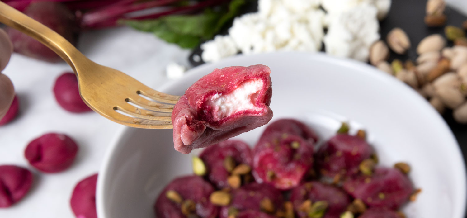 Beet Tortellini with Goat Cheese