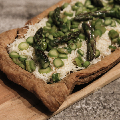 Bien Cuit Tart with Shallot Jam, Asparagus Topping, Fennel Custard, and Reading Cheese