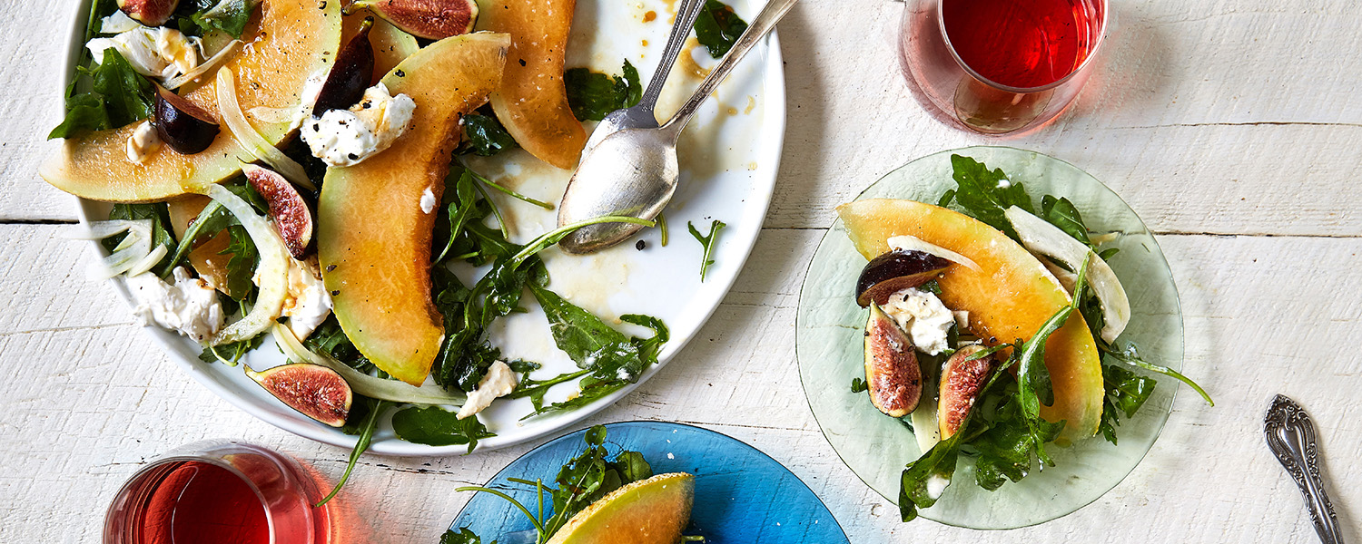 Burrata and Cantaloupe Salad with Murray's Picual Reserva EVOO and Fig Balsamic Vinegar