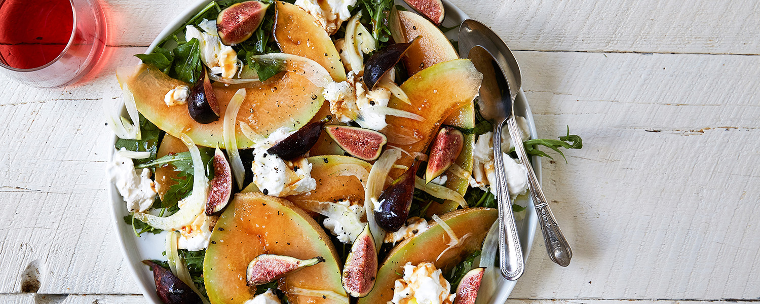 A melony version of a classic Caprese Salad made with Cantaloupe and Burrata