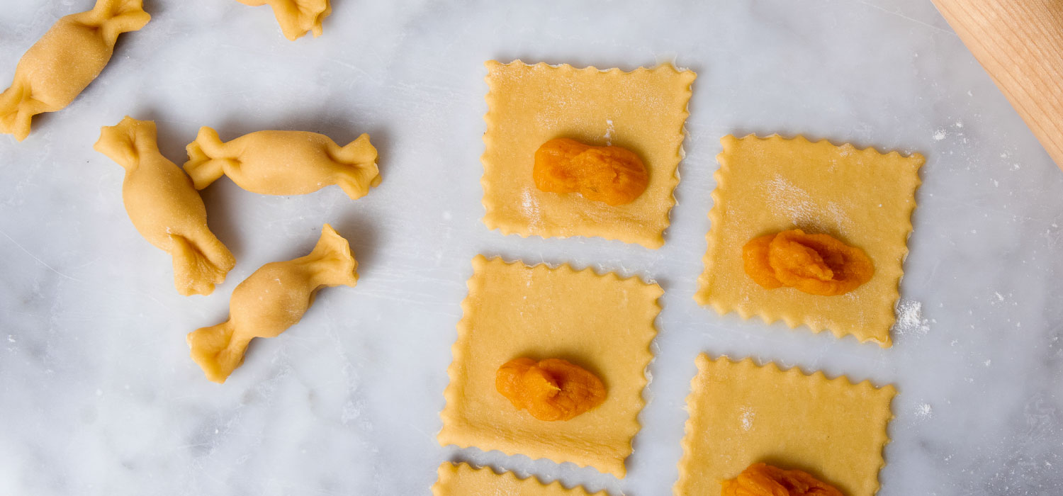 Butternut Squash Caramelle with Blue Cheese Sauce