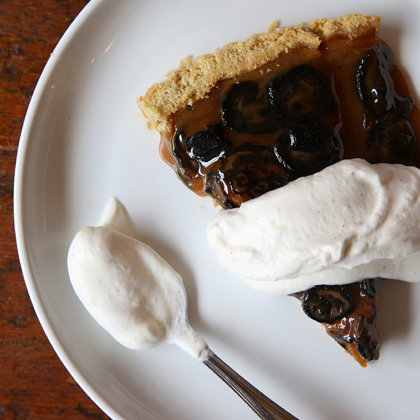 Cherry Point Tart with Gjetost Caramel, Preserved Walnuts and Whipped Creamnm from the top