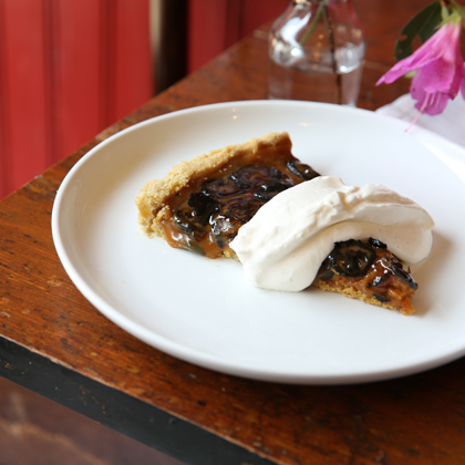 Cherry Point Tart with Gjetost Caramel, Preserved Walnuts and Whipped Cream