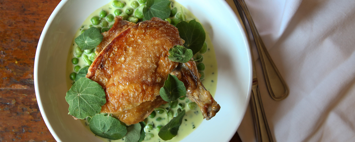 Cherry Point Roasted Chicken And Spring Peas with Pecorino Calabrese from the top