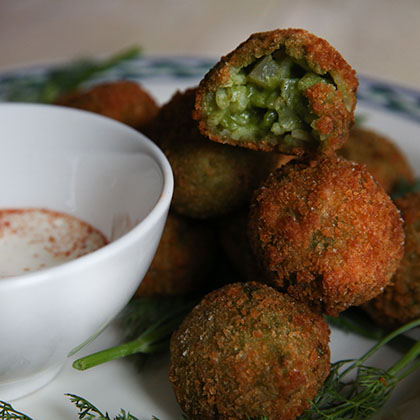 Dill Pickle Arancini close up