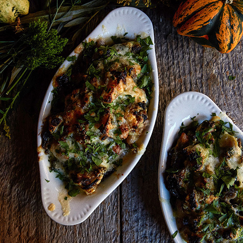 Brussel Sprout and Bacon Gratin