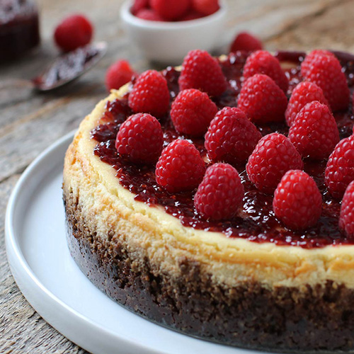 New York-Style Goat Cheesecake with Raspberry Jam
