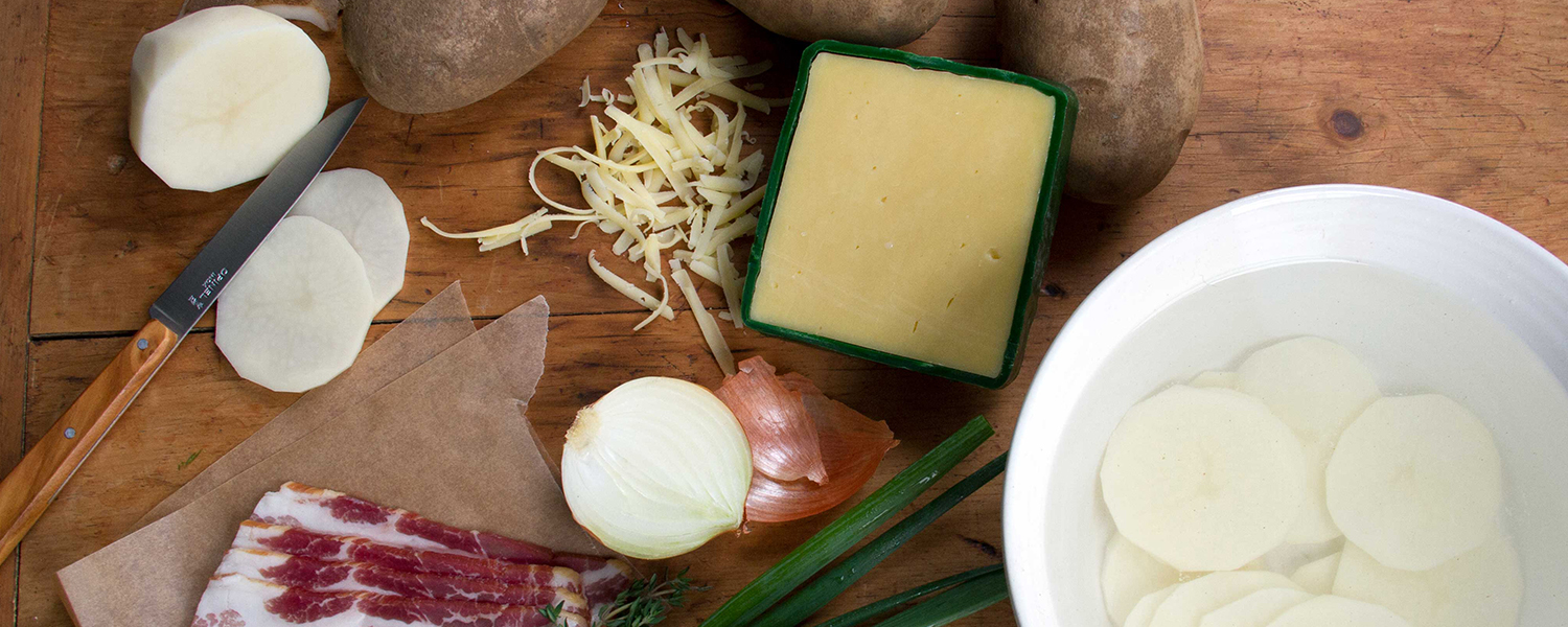 Ingredients layed out for Irish Cheddar and Potato Gratin
