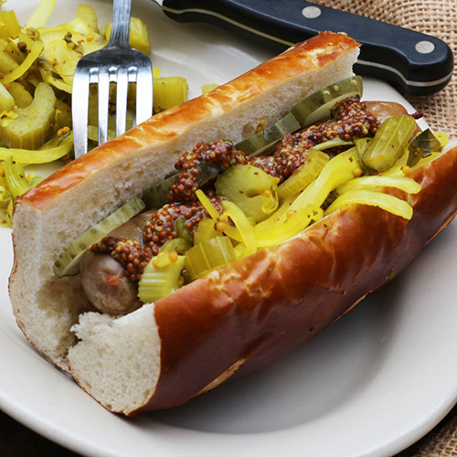 Meat Hook Sausage Co. Bratwurst and Turmeric Slaw Sandwich