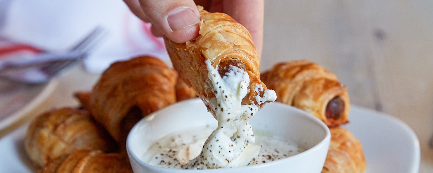 Merguez Sausage Rolls With Feta Dip