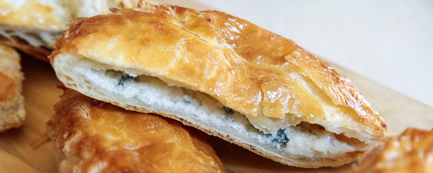 A close up of the filling for the Mons Puff Pastry with 1924 Bleu