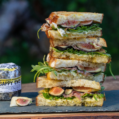 Nettle Meadow Grilled Cheese with Ham and Figs