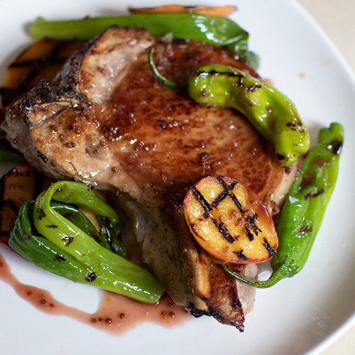 Pan Roasted Pork Chops with Grilled Peaches and Barolo Agrodolce