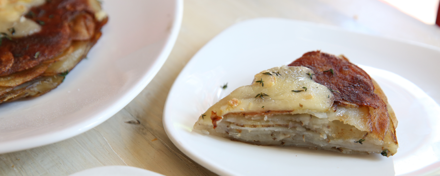 A cheesy, potato-y, rustic French classic dish, Potato Galette