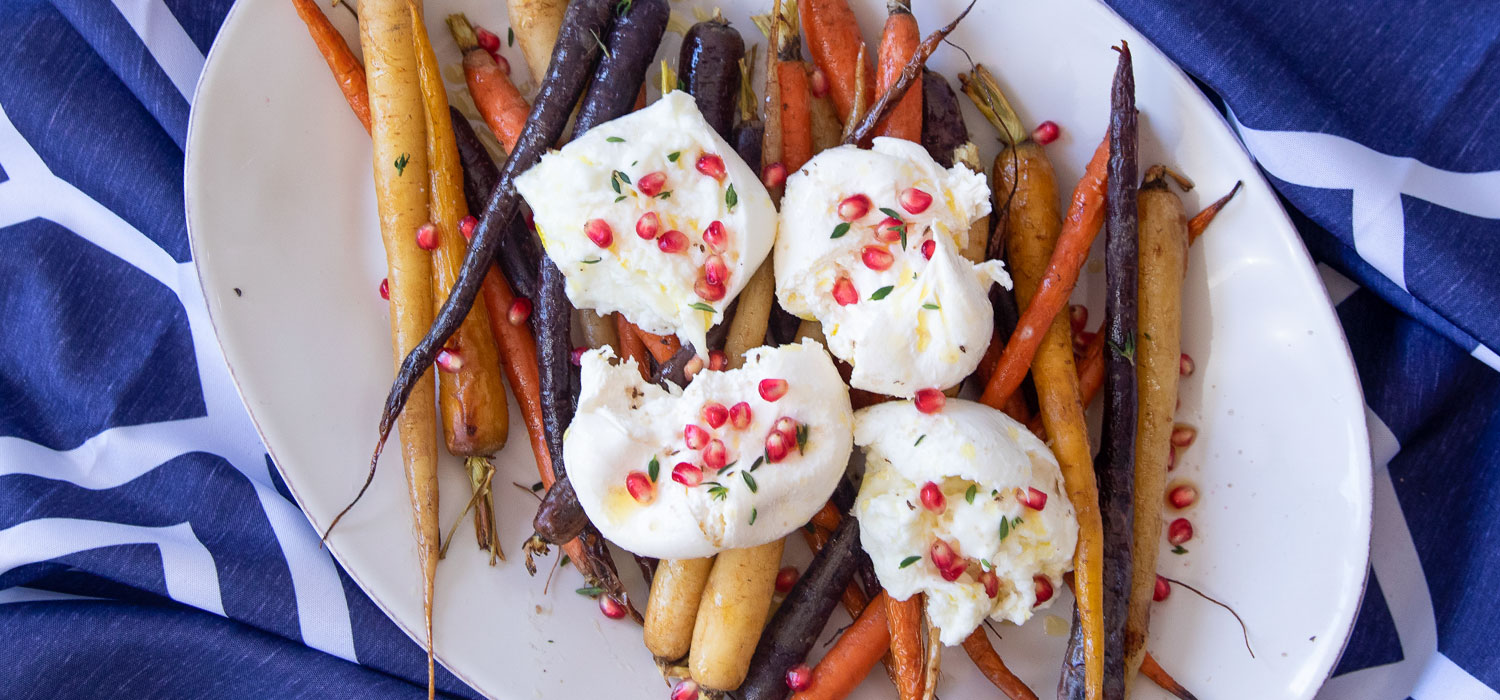 Roasted Vegetables with Burrata and Pomegranate