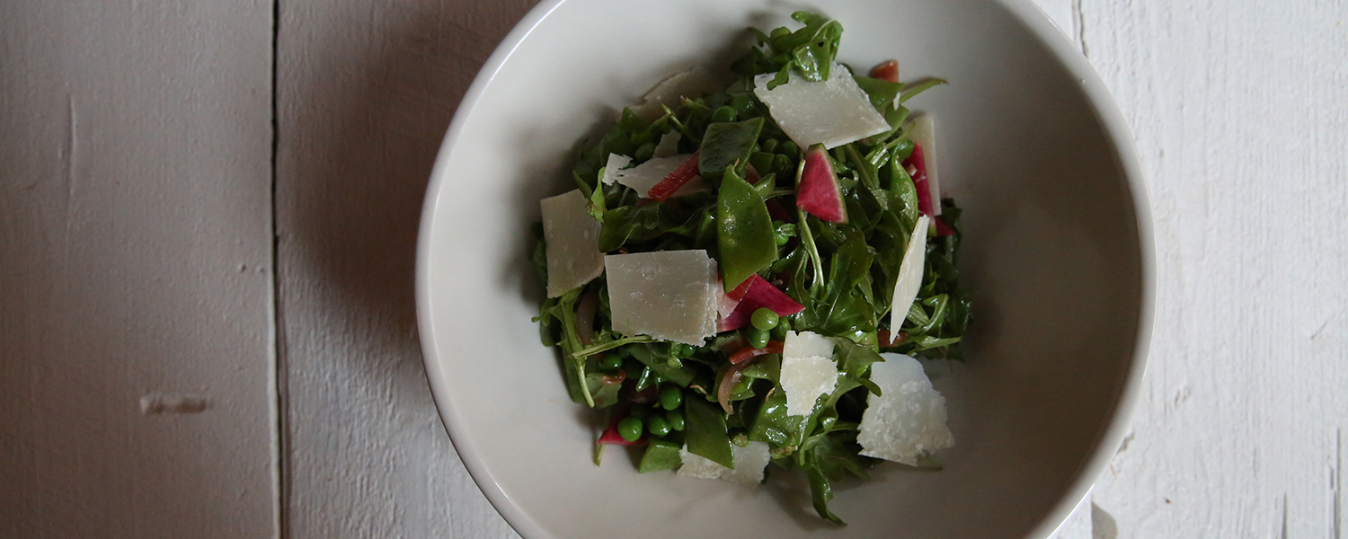 Primavera Spring Salad with Parmigian Reggiano and Prosciutto di Parma view from the top