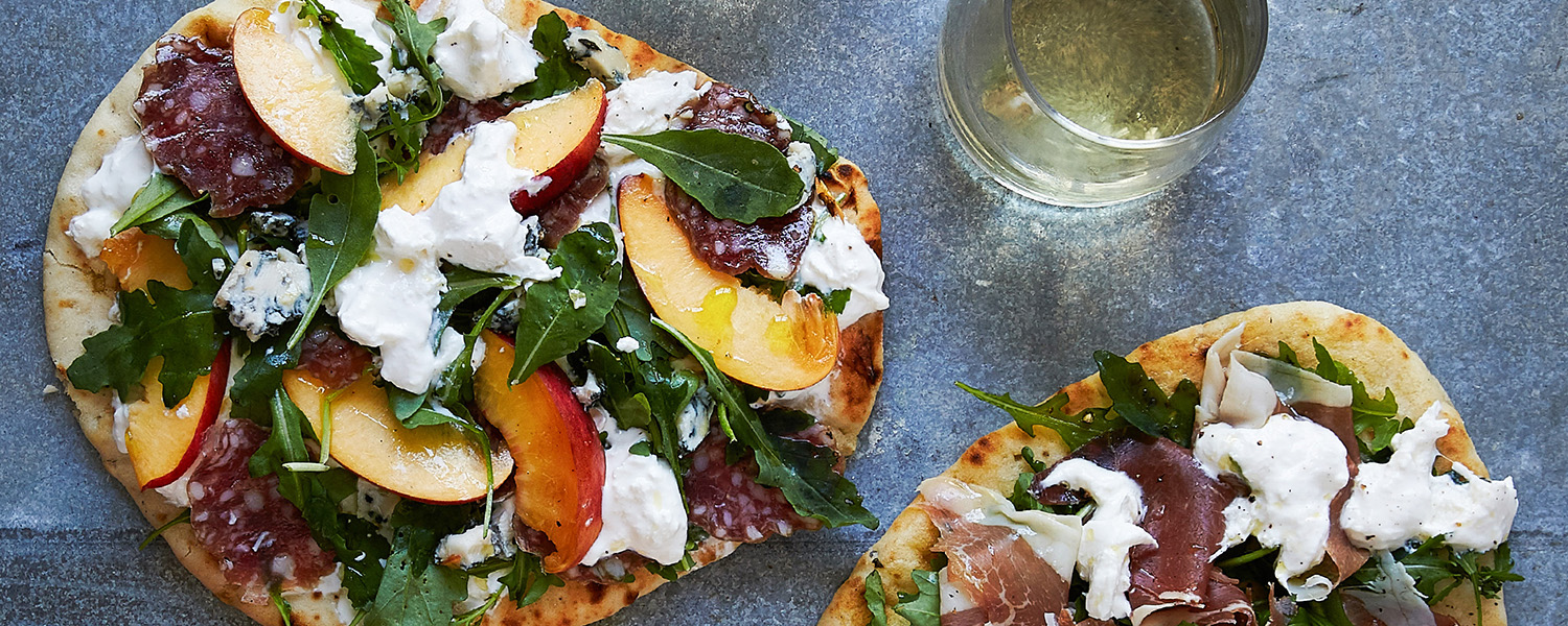 Peach, Burrata and Sopressata Flatbread