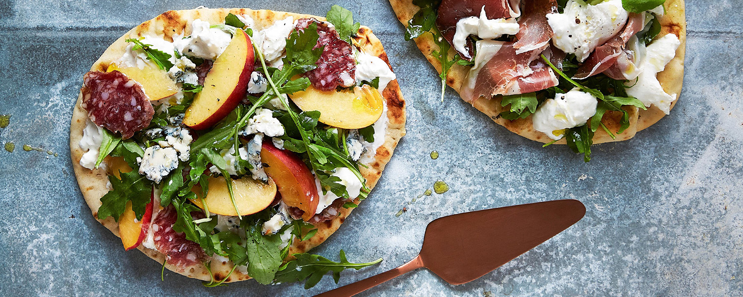 Peach, Burrata and Prosciutto Flatbread