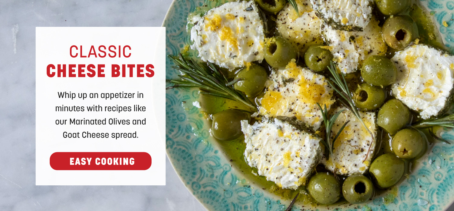 Classic Cheese Bites: Marinated Olives and Goat Cheese Dip